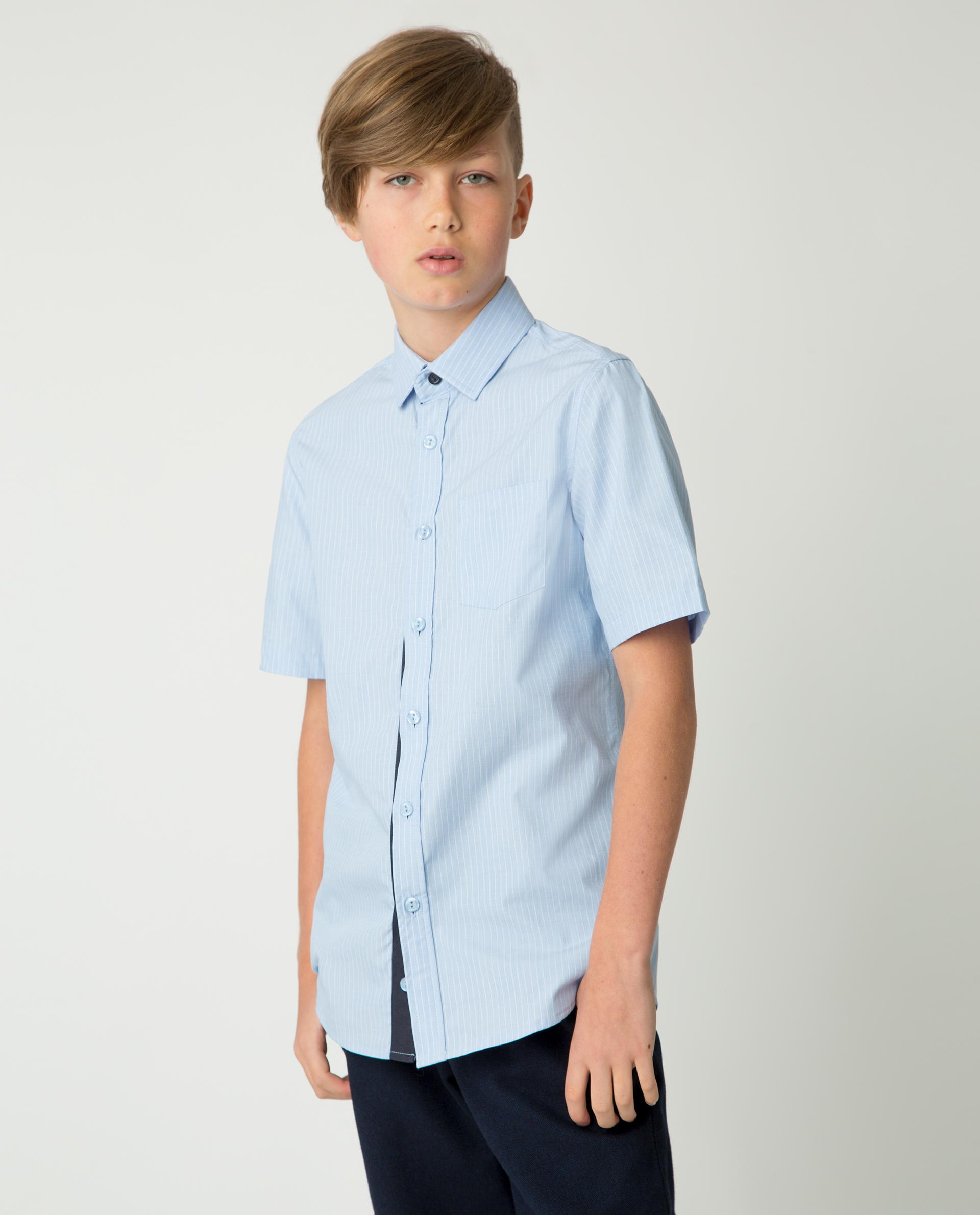Купить 220GSBC2321, Голубая рубашка в полоску Gulliver, голубой, 170, Хлопок, Мужской, Демисезон, ШКОЛЬНАЯ ФОРМА 2020-2021 (shop: GulliverMarket Gulliver Market)