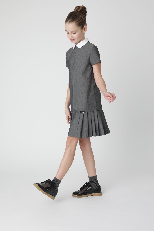 Купить 220GSGC2503, Серое платье с коротким рукавом Gulliver, серый, 146, Женский, Демисезон, ШКОЛЬНАЯ ФОРМА 2020-2021 (shop: GulliverMarket Gulliver Market)