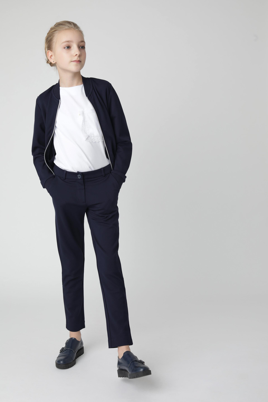 Купить 220GSGC5603, Синие брюки из джерси Gulliver, синий, 122, Женский, Демисезон, ШКОЛЬНАЯ ФОРМА 2020-2021 (shop: GulliverMarket Gulliver Market)