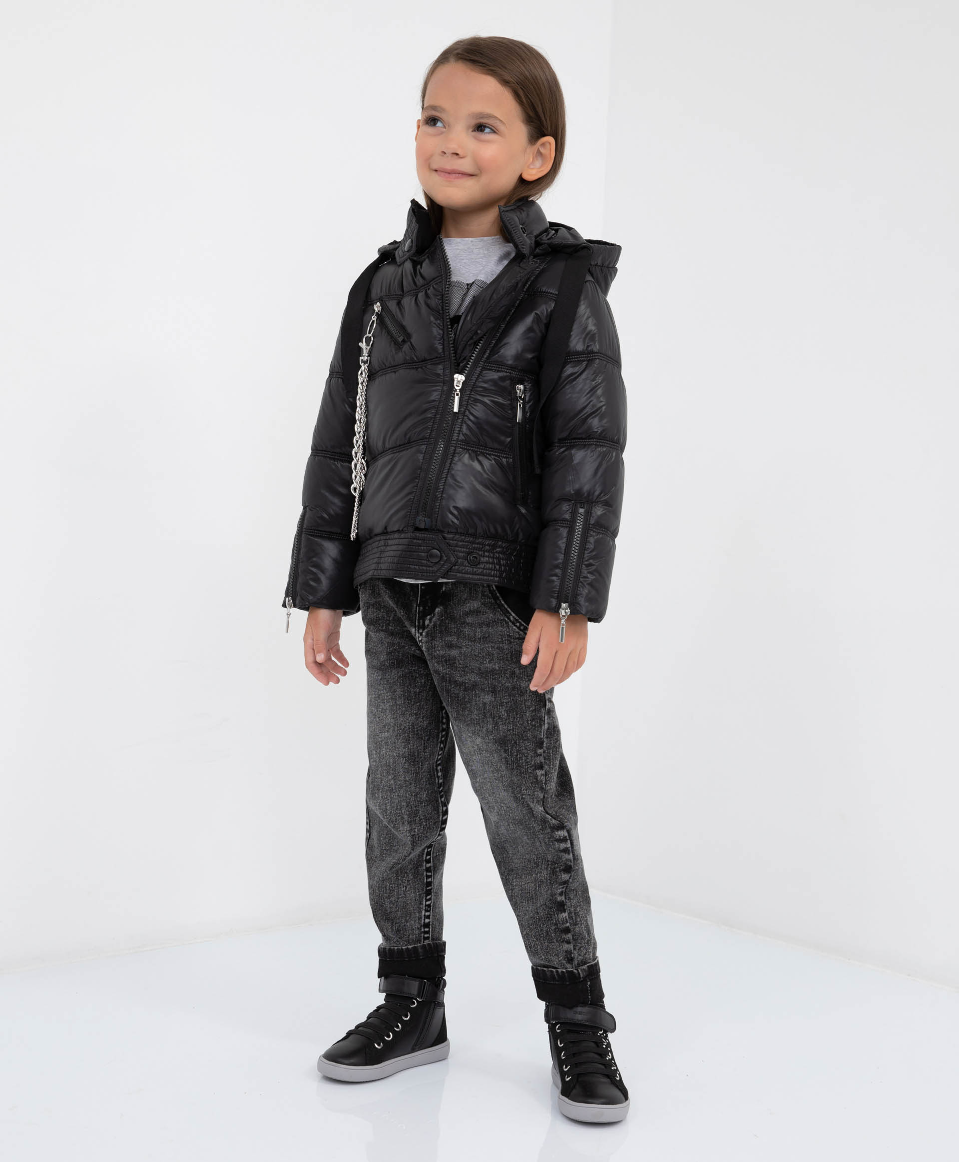 Купить 22101GMC4102, Куртка демисезонная с капюшоном Gulliver, черный, 128, Полиэстер, Женский, Демисезон, ОСЕНЬ/ЗИМА 2021-2022 (shop: GulliverMarket Gulliver Market)
