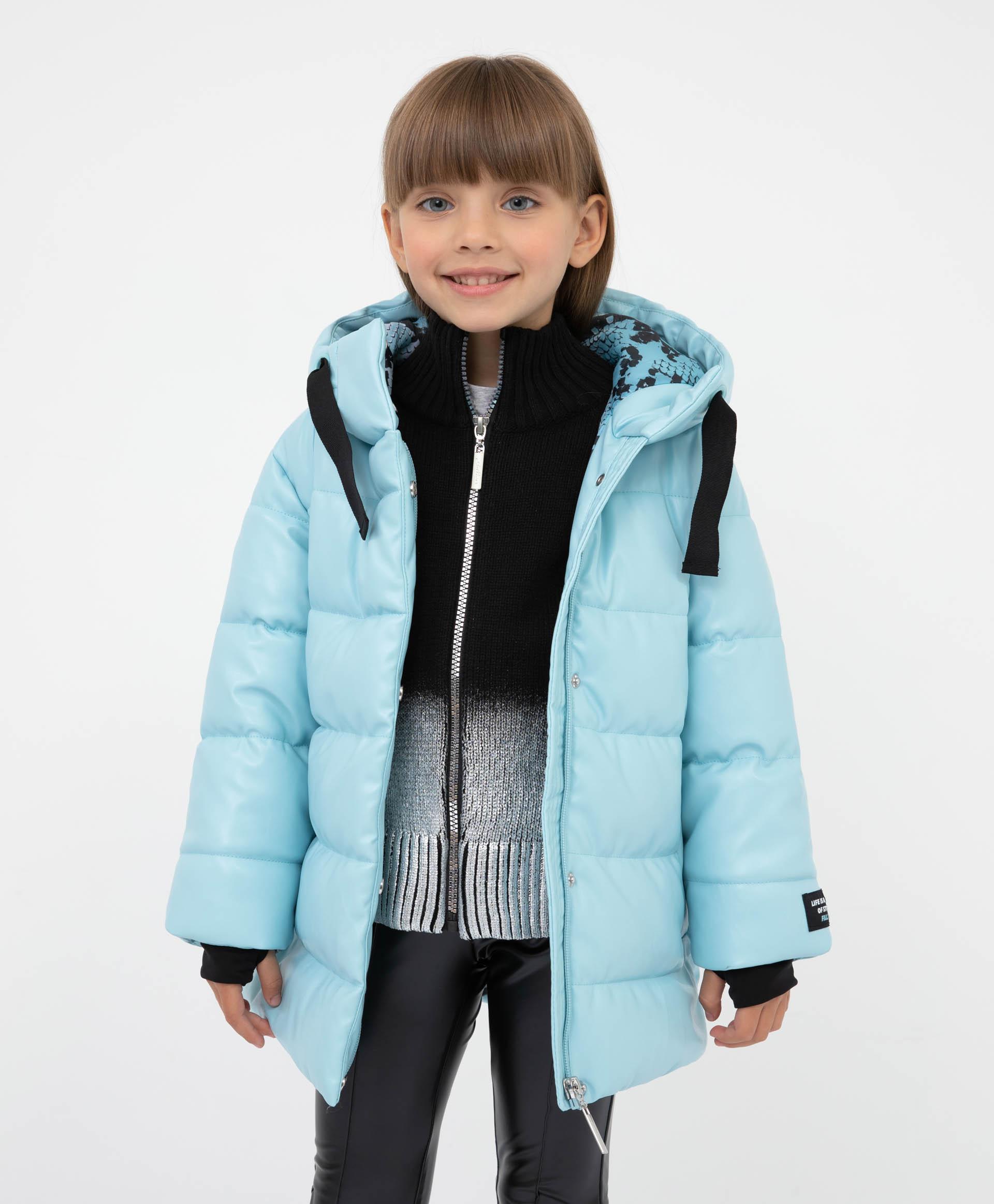 Купить 22101GMC4502, Пальто демисезонное с капюшоном Gulliver, голубой, 128, Полиуретан, Женский, Демисезон, ОСЕНЬ/ЗИМА 2021-2022 (shop: GulliverMarket Gulliver Market)