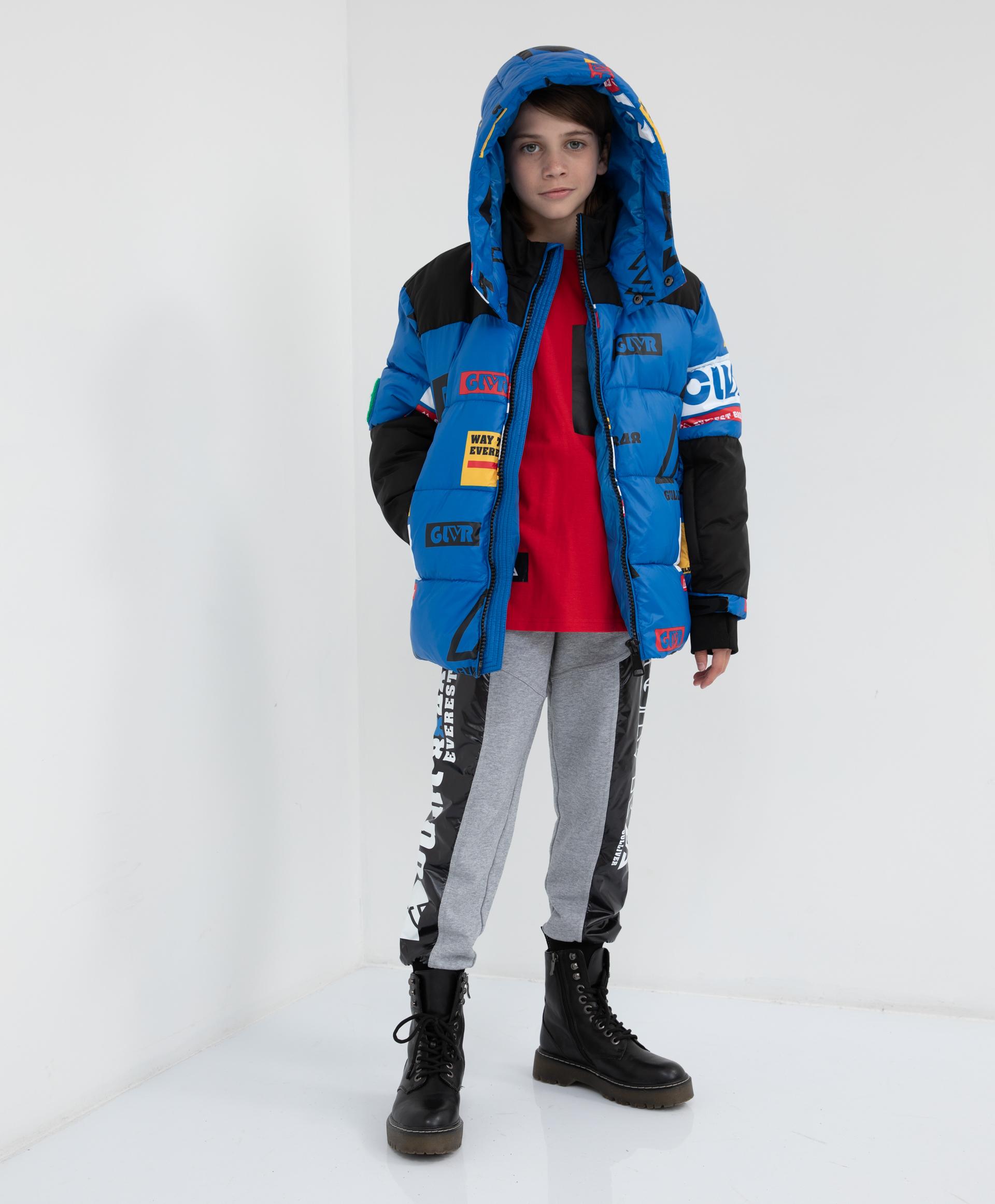 22112BJC4110, Куртка зимняя с капюшоном Gulliver, синий, 134, Полиэстер, Мужской, Зима, ОСЕНЬ/ЗИМА 2021-2022  - купить со скидкой