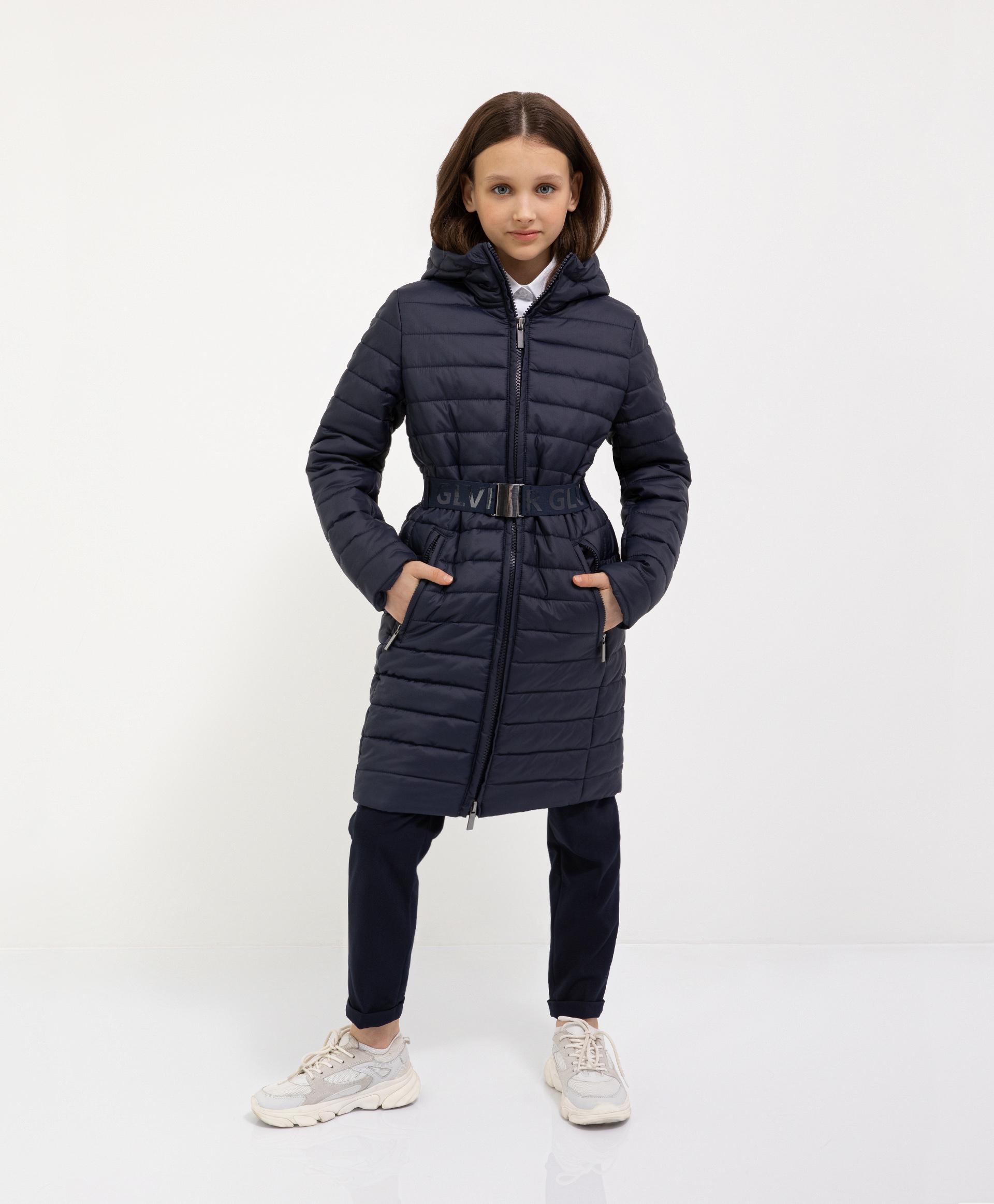 Купить 221GSGC4502, Пальто синее с капюшоном демисезонное Gulliver, 152, Женский, ШКОЛЬНАЯ ФОРМА 2021-2022 (shop: GulliverMarket Gulliver Market)
